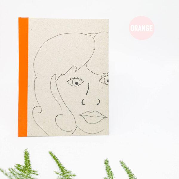 orange-handgebonden-boekje-schetsboek-notitieboek-a6-studiocooliejoelie