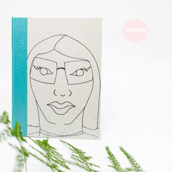 turquoise-handgebonden-boekje-schetsboek-notitieboek-a6-studiocooliejoelie